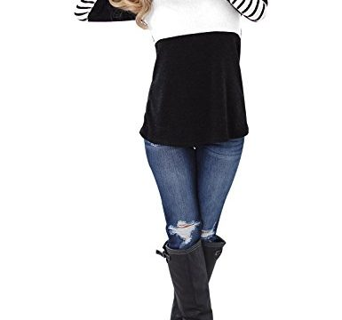 Blooming Jelly Women's Long Sleeve Round Neck Elbow Patched Color Block Stripe Shirt TopsXL,Black