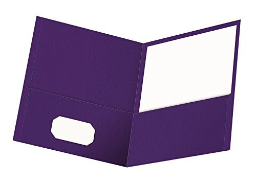 Oxford Twin-Pocket Folders, Textured Paper, Letter Size, Purple, Holds 100 Sheets, Box of 25 57514EE