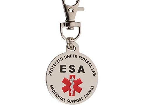 K9King Double Sided Emotional Support Animal ESA Red Medical Alert Symbol and Protected by Federal Law 1.25 inch ID Tag. Easily Switch Between Collars Harness and Vest.
