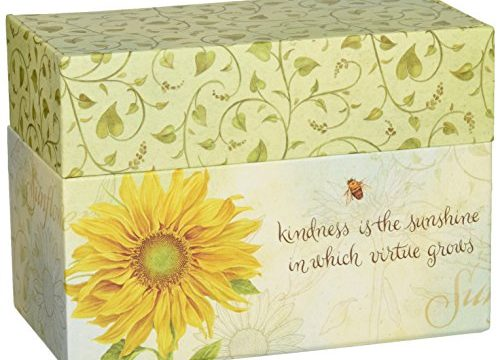 "12 Coordinating,  4 x 5 Recipe Cards w Dividers – Recipe Card Box – Artwork by Jane Shasky – Easel Style Cover – ""Virtue Grows"" –  6.75″ x 5″ x 3.75″ – LANG"