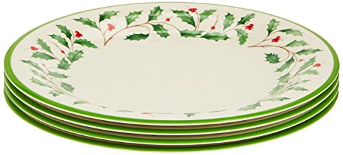 Lenox Holiday Melamine Dinner Plates Set of 4, Ivory