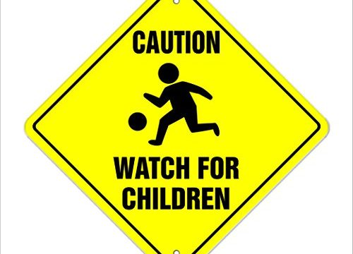 Caution Watch for Children Crossing Sign Zone Xing | Indoor/Outdoor | 12″ Slow Playing at Play Safety