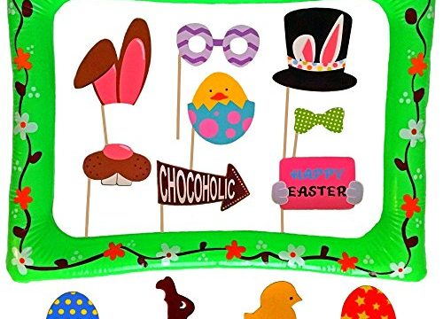 Egg Rabbit Basket Decorations – Easter Photo Booth Props with Inflatable Picture Frame Included – NO DIY REQUIRED Attached to the stick – 30 Count