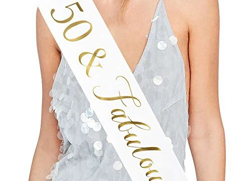 50 and Fabulous Sash, 50th Birthday Sash Fabulous 50 Sash Birthday Party Favors, Supplies and Decorations White/Gold