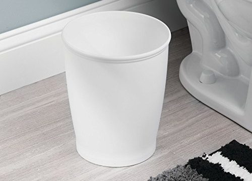 White – InterDesign Kent – Round Trash Can for Bathroom, Kitchen or Office – 8.35 x 10 inches