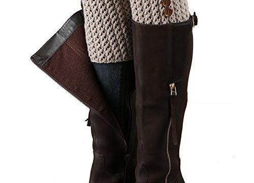 FAYBOX Women's Short Leg Warmer Crochet Boot Cover Button Khaki