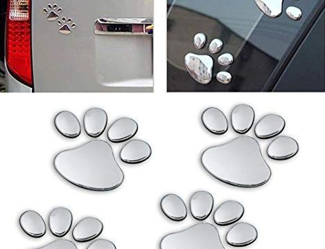 LZLRUN 3D Chrome Dog Paw Footprint Sticker Decal Auto Car Emblem Decal Decoration Silver