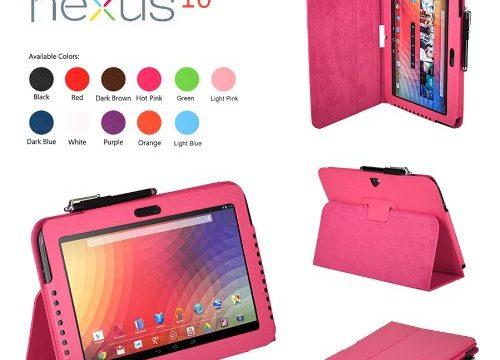 SHEROX Google Nexus 10 Case – Slim Folio Case Cover for Google Nexus 10 Inch Tablet Nexus 10, HOT PINK