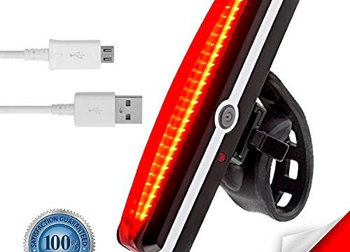 VivoPro Sports USB Rechargeable LED Bike Tail Light by 180-Degree Visibility Bicycle Tail Light, High Intensity Red Color | USB Rechargeable Bike Taillight, Up to 6 Hours Run Time | Easy Mount Design