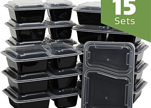 Meal Prep Containers With Lids 15 Sets 2 Compartment Lunch Containers, Bento Boxes, Food Storage Containers 30 oz.