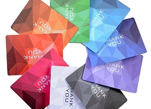 Thank You Cards with Envelopes, 36 Note Blank Cards, 9 Rainbow Colors