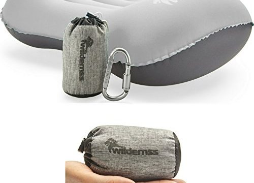 Ultralight Inflatable Camping Pillow with Included Stuff Bag, Perfect for Camp, Car, Airplane Travel, Road Trip, Hiking Essentials or Backpacking Gear Light Gray