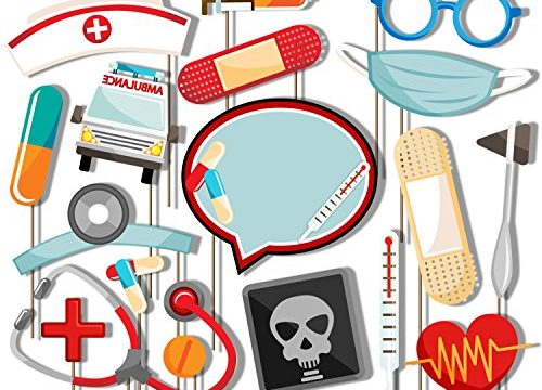 Birthday Galore Medical- Doctor & Nurse Photo Booth Props Kit – 20 Pack Party Camera Props Fully Assembled