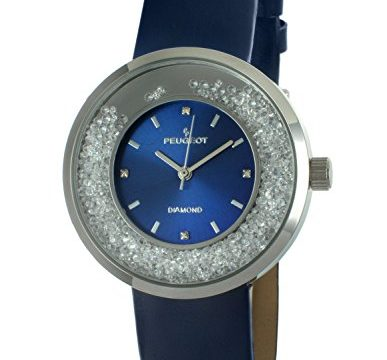 Peugeot Women's 'Diamond' Quartz Metal and Leather Dress Watch, Color:Blue Model: 3041SBL