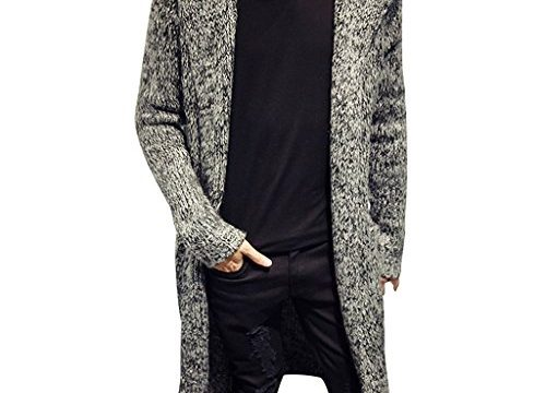 Stunner Men's Spring Slim with Hood Sweater Casual Long Cardigan