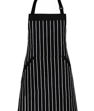 Black/White Pinstripe 33 x 27 Inches – Homwe – Extra Long Ties, Commercial Grade, Unisex – Adjustable Bib Apron with Pockets