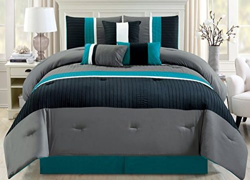 Modern 7 Piece Oversize Teal Blue / Grey / Black Pin Tuck Stripe Comforter Set Queen Size Bedding with Accent Pillows 94″X92″