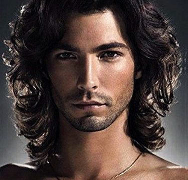 Menoqi Mens Wigs Dark Brown Curly Wig Heat Resistant Hair Wigs Natural Looking Wigs for Party/Daily Use WIG129