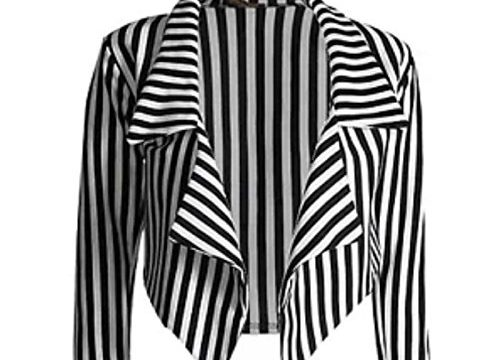 Janisramone ladies casual black white striped cropped waterfall blazer jacket coat Thin White Stripe SM