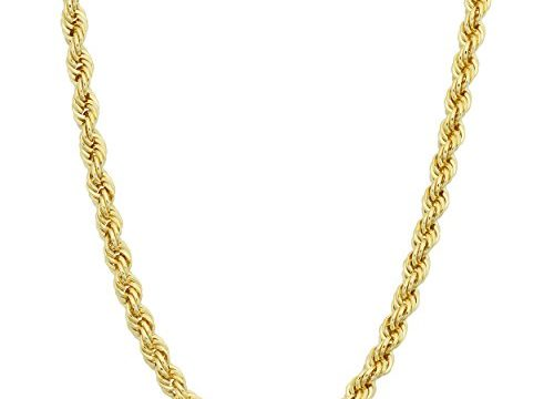 Kooljewelry 14k Yellow Gold Filled Men's 3.20mm Rope Chain Necklace 16, 18, 20, 22, 24, 26, 30 or 36 inch
