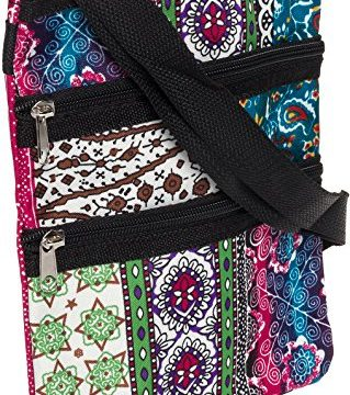 Womens Chevron 9″ Crossbody Swingpack Bag Boho w/Black Trim
