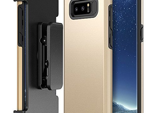 Galaxy Note 8 Case Holster, Trianium Duranium Series Heavy Duty Protective Cover with Belt Clip and Kickstand for Samsung Note 8 Phone Extreme Protection- Gold