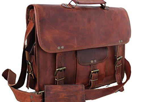 Handmadecraft Leather Unisex Real Leather Messenger Bag for Laptop Briefcase Satchel