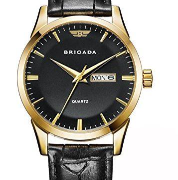 BRIGADA Swiss Brand Classic Gold Black Dress Watches for Men with Date Date Calendar, Business Casual Quartz Men's Wrist Watch Waterproof