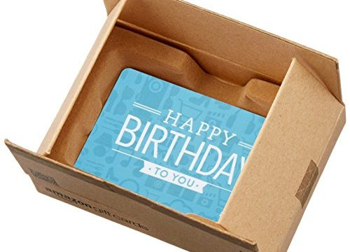 Amazon.com Gift Card in a Mini Amazon Shipping Box Birthday Icons Card Design