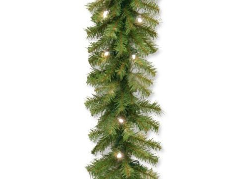 National Tree 9 Foot by 10 Inch Norwood Fir Garland with 50 Battery Operated Warm White LED Lights NF3-308-9A-B