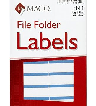 MACO Light Blue File Folder Labels, 9/16 x 3-7/16 Inches, 248 Per Box FF-L4