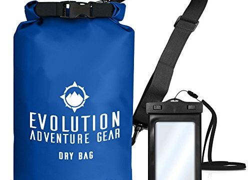Roll Top Compression Sack for Kayaking, Boating, Hiking, Fishing, Camping and Outdoor Travel – Waterproof Phone Case – 10L Blue – Evolution Floating Waterproof Dry Bag – Professional Adventure Gear