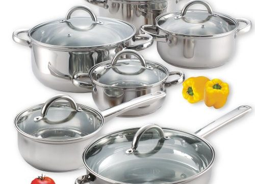 Cook N Home NC-00250 12-Piece Stainless Steel Cookware Set Silver