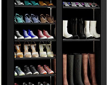 TXT&BAZ 27-Pairs Portable Boot Rack Double Row Shoe Rack Covered with Nonwoven Fabric7-Tiers Black