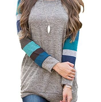 POSESHE Women's Cotton Knitted Long Sleeve Lightweight Tunic Sweatshirt Tops