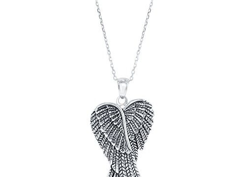 Beaux Bijoux Sterling Silver Double Angel Wings Heart/Silver or Rose Tone Created Blue/White or Pink Opal Angel Wings 18″ Pendant Necklace