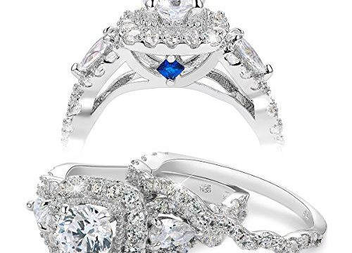 Newshe Engagement Wedding Ring Set for Women 925 Sterling Silver 2.4ct Round Pear White Cz Size 9
