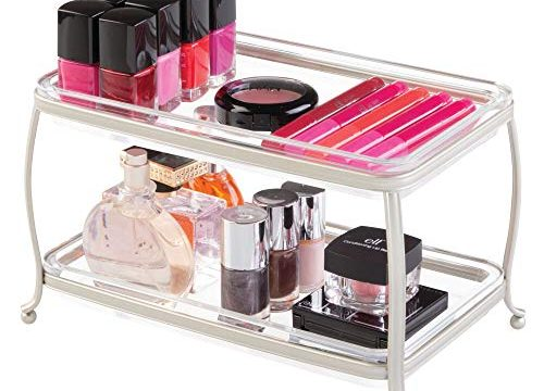 Satin/Clear – mDesign Decorative Makeup Storage Organizer Vanity Tray for Bathroom Counter Tops, 2 Levels to Hold Makeup Brushes, Eyeshadow Palettes, Lipstick, Perfume and Jewelry