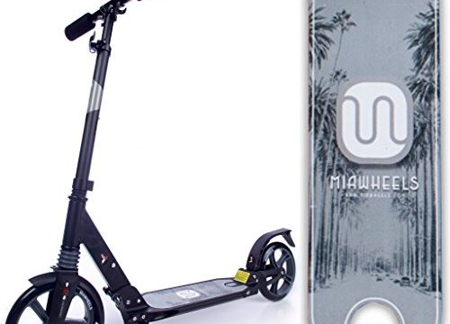 MIAWHEELS Black/Gray Adjustable & Foldable + Suspension+ Strap+Reflective+ Long Rear Brake, Aluminium Kick Scooter