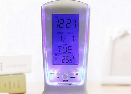 Digital Alarm Clock, Weather Monitoring Alarm Clocks -Temperature Calendar Digital LCD Display Table Alarm Clock for Kids Bedroom and office desk White