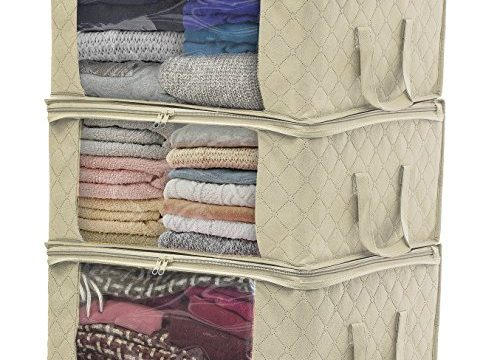 Sorbus Foldable Storage Bag Organizers, Large Clear Window & Carry Handles, Great for Clothes, Blankets, Closets, Bedrooms, and More 3-Pack, Beige