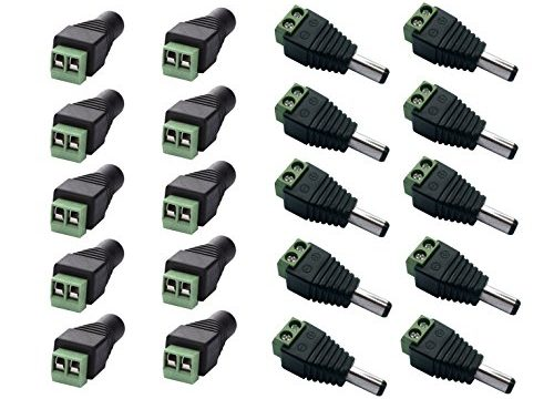 Ksmile® 10 x Male + 10 x Female 2.1×5.5mm DC Power Cable Jack Adapter Connector Plug Led Strip CCTV Camera Use 12V
