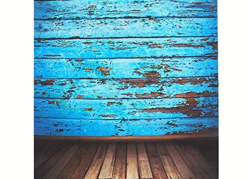 Mohoo Silk Vintage Blue Wood Floor Photography Backdrops Photo Props Studio Background 1.5×2.1m Updated Material