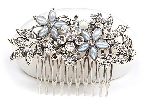 Women Flower Crystal Rhinestone Pearls White K Hair Comb Clip Wedding Bridal Silver