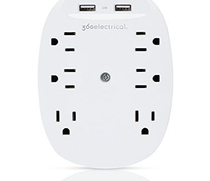 360 Electrical 360304 Studio3.4 Surge Protector Wall Tap with 6 Outlets 3.4 Amp/17W USB Charging