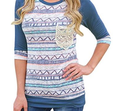 ROSKIKI Women's 3/4 Sleeve Contrast Color Stripes Geometric T Shirt Blouse Tunic Tops