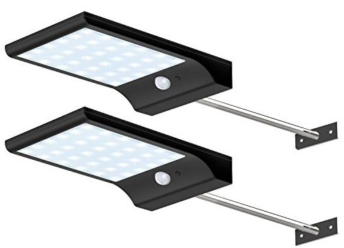 CREATIVE DESIGN Solar Lights Outdoor, 36 LED Gutter Solar Lights with Mounting Pole Motion Lights for Patio Barn Garage, Pack of 2