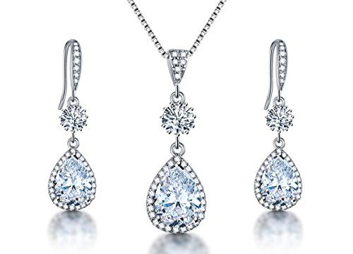 AMYJANE Bridal Jewelry Set for Wedding – Teardrop Silver Cubic Zirconia Crystal Drop Earrings and Necklace Set for Bride Bridesmaids Mother of Bride Prom Party