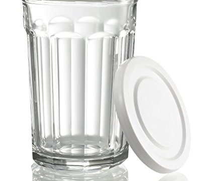 Luminarc Arc International Working Glass Storage Jar/Cooler with White Lid Set of 4, 21 oz, Clear