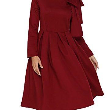AlvaQ Women Bowknot Embellished Mock Neck Pocket Midi Dress